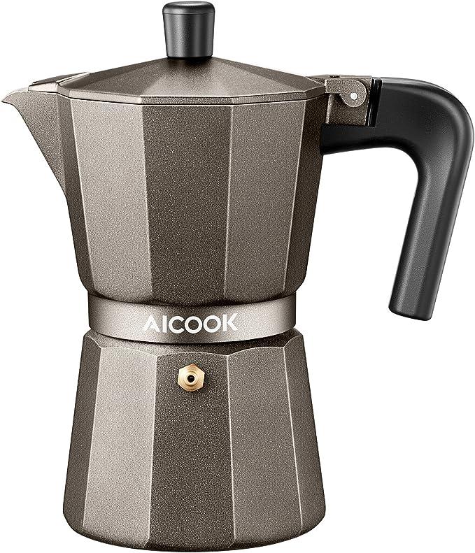 AICOOK Stovetop Espresso Machine, 6 Cups Moka Pot, Espresso and Coffee Maker for for Gas or Electric Ceramic Stovetop, Espresso Shot Maker for Italian ...