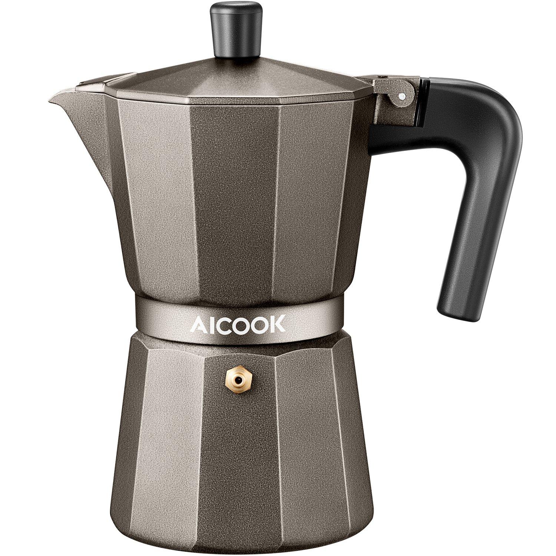AICOOK Moka Pot, Espresso Maker, Coffee Maker for Gas or Electric Ceramic Stovetop, 6 Cups Espresso Shot Maker for Italian Espresso, Cappuccino and Latte