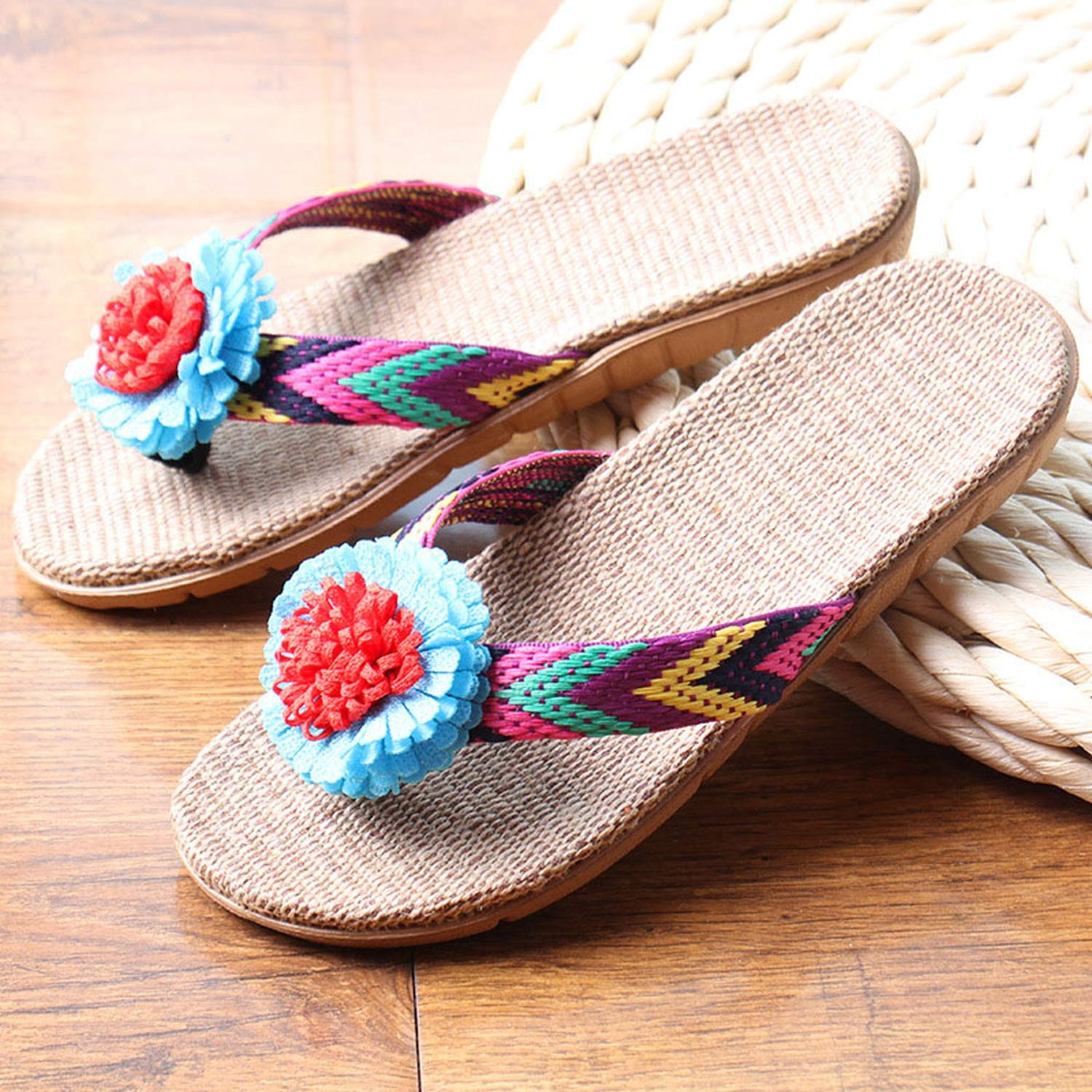 Amazon.com | Women Linen Slippers Flower Ribbon Sandals Health Straw Lady Beach Shoe | Slippers