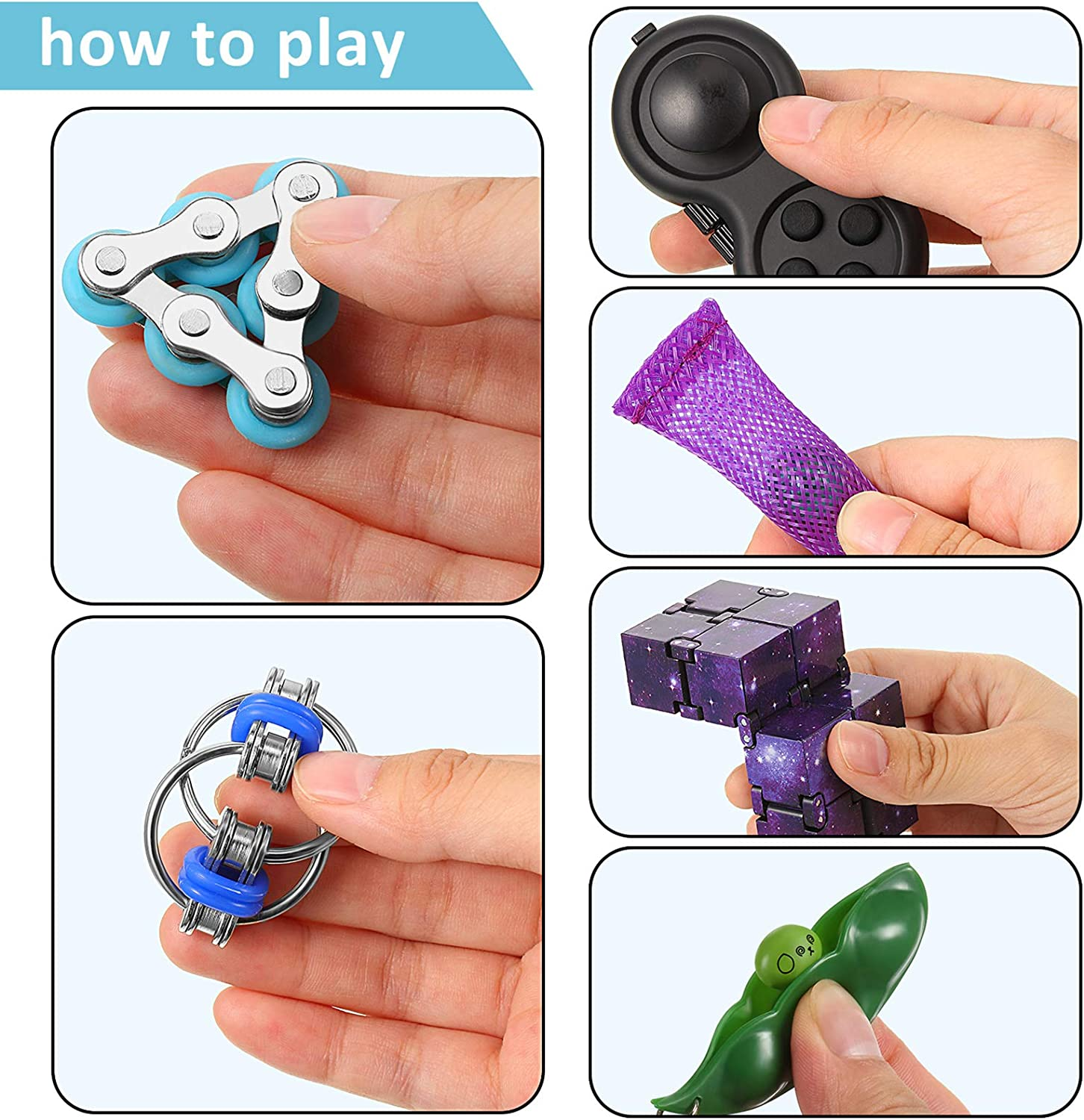 7 Pieces Fidget Toy Set Include Six Roller Chain Fidget Key Flippy Chain Infinity Cube Wacky Track Fidget Pad Fidget Bean and Marble Fidget with Storage Bag for Autism Stress Anxiety Relief