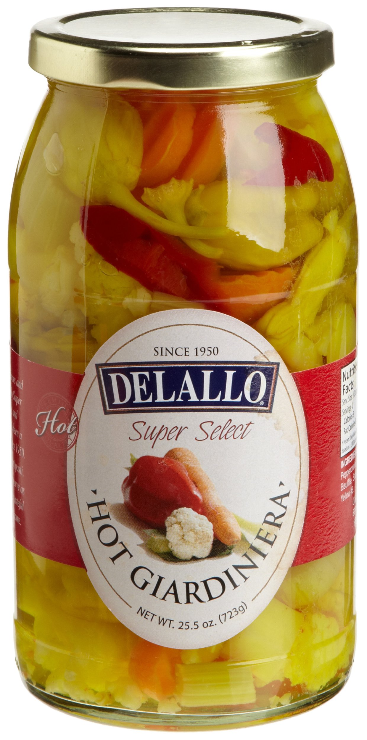 DeLallo Hot Giardiniera, 25.5-Ounce Jars (Pack of 6) by DeLallo