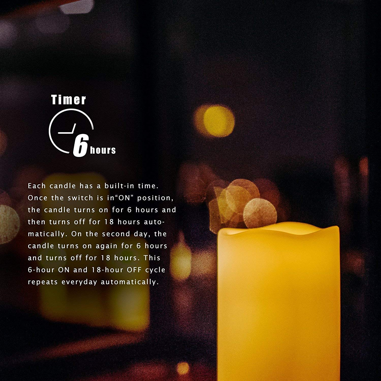Set of 3 Waterproof Flameless LED Candles with Timer Realistic Flickering Powered Electric Electronic Plastic Resin Candles Outdoor Pillar Candles Battery Operated 3x6