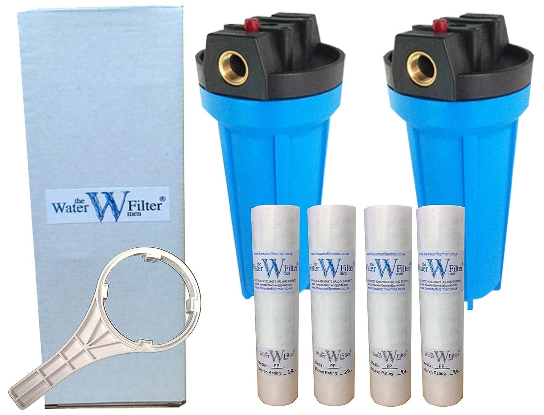 Nature's Water Lot de 2 logements pour filtre à eau et de 4 filtres à eau à sédiments en polypropylène pour traitement de l'eau dure 25,4 cm
