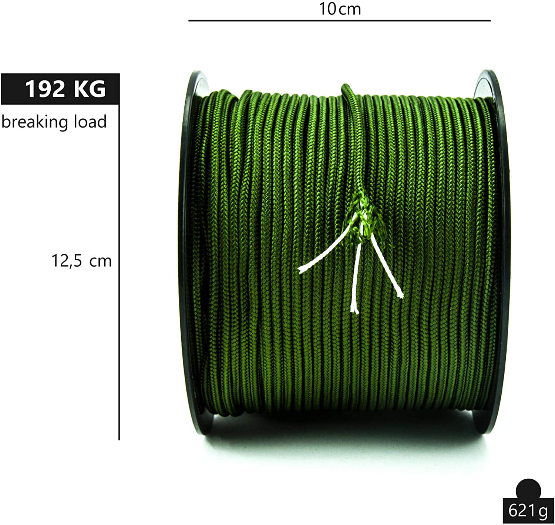 couleur rouge 10M GOTOP Cordon en corde de banque en paracorde lourd 12 mm avec accessoire pour corde descalade avec mousqueton