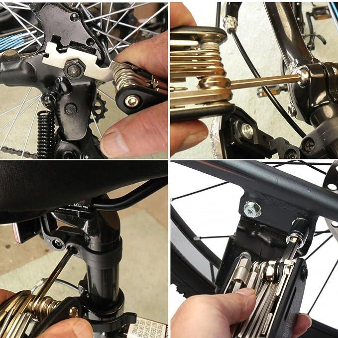 Bolsa paquete portátil bicicleta mecánico reparación herramienta Kit de 16 en 1 multifunción herramienta, neumático palancas de parche y 10 en 1 Llave ...