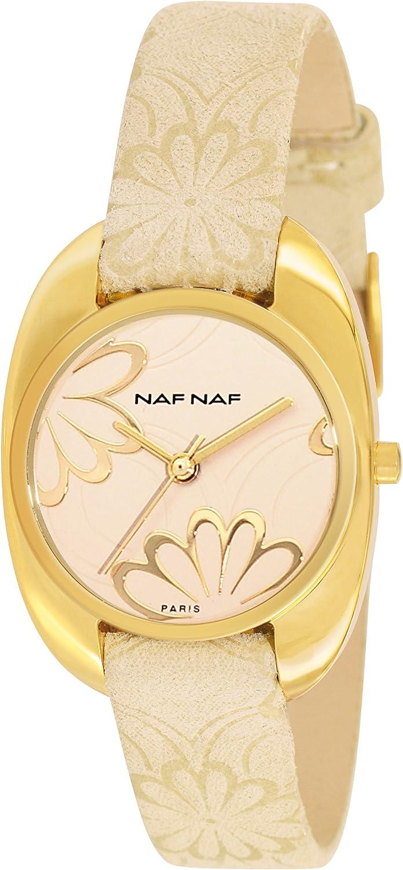 Naf Naf N10192G-805 - Reloj de Cuarzo para Mujer, con Correa de Cuero, Color Dorado