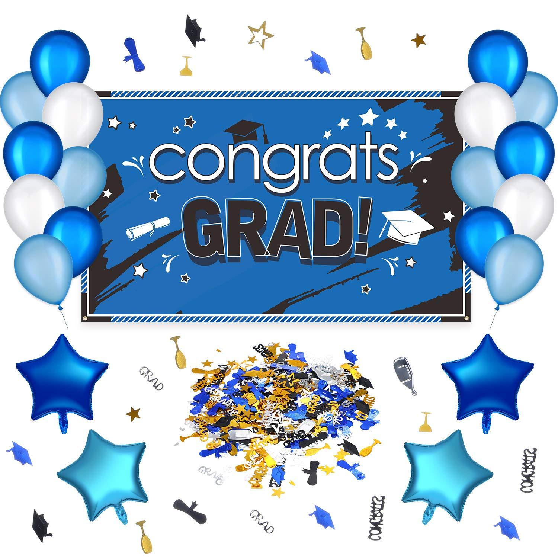 29 Pieces Graduation Party Decoration Kit, Congrats Grad Photo Backdrop Graduation Party Suppliers, Graduation Banner, Balloons and Confetti for Class of 2019 (Blue)