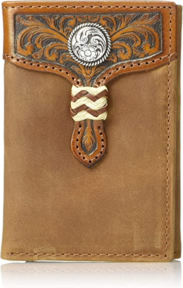 Ariat Mens Distressed Shield Inlay Trifold Western Wallet