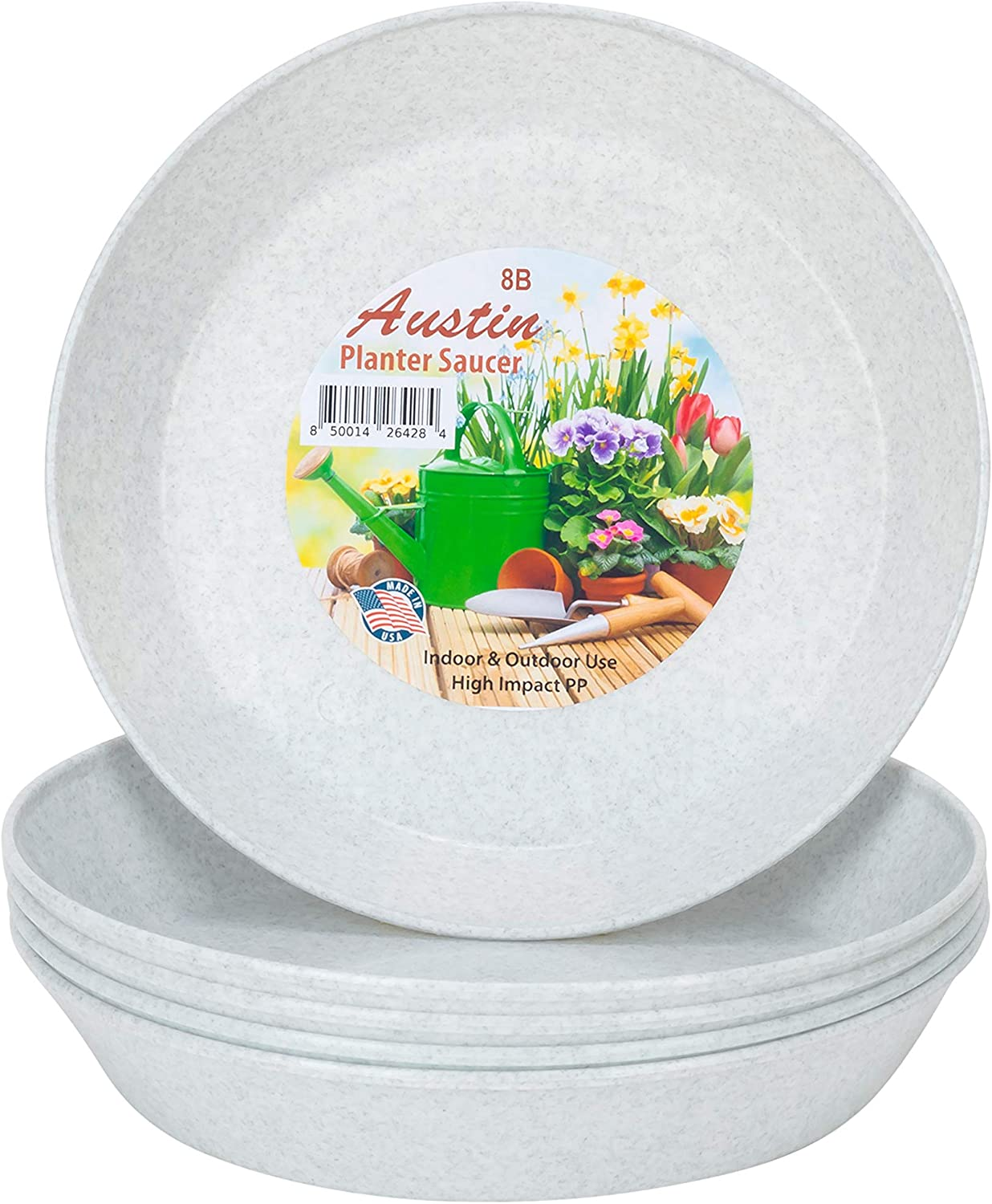 AS18 (16.3 inch Base Dia.) Case of 5 Austin Planter White Granite Polypropylene for indoor and outdoor plant use, Made in USA, flower pot saucer, planter drainage saucer