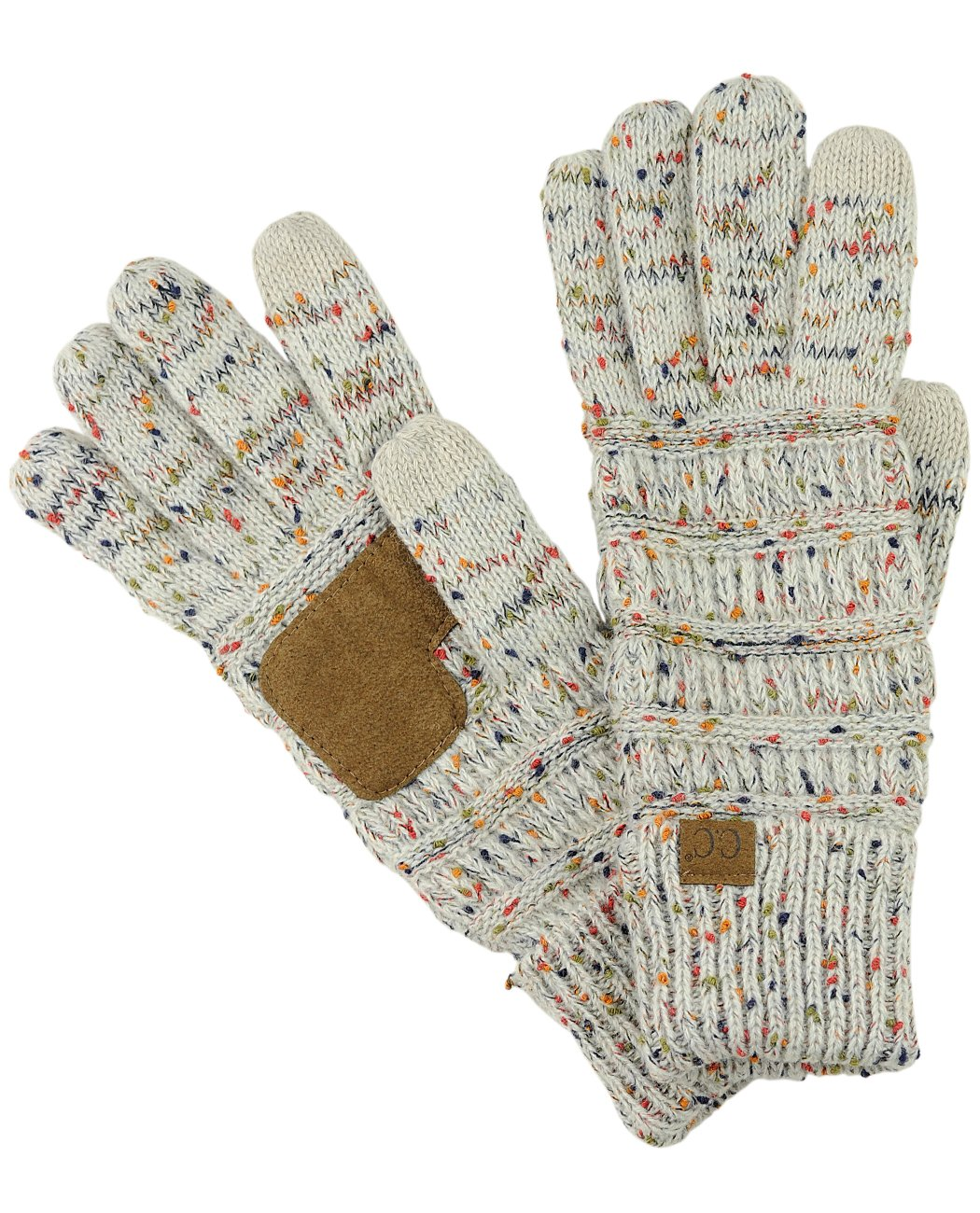 C.C Unisex Cable Knit Winter Warm Anti-Slip Touchscreen Texting Gloves, Confetti Oatmeal by C.C