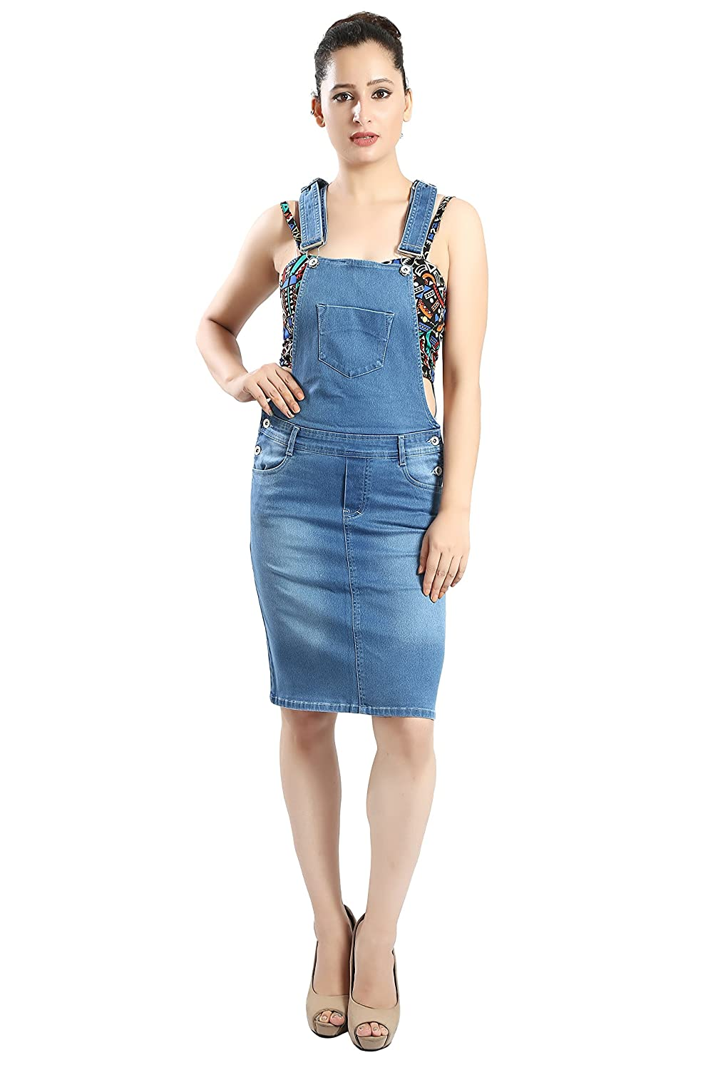 f95962f820b9 FCK-3 Women s Pencil Fit Stretchable Denim Skirt Dungaree  Amazon.in   Clothing   Accessories