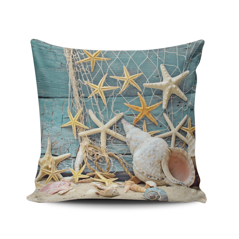 Fanaing Aqua Mint and Turquoise Beach Themed Conch Shell Starfish Fishing Net Pillowcase Home Sofa Decorative 26X26 Inch European Throw Pillow Case Decor Cushion Covers One-Side Printed