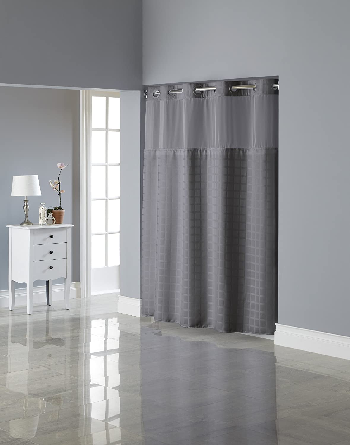 Hookless shower curtain - Amazon Com Hookless Rbh27my919 Square Tile Jacquard Shower Curtain With Snap In Fabric Liner Moonlight Blue Home Kitchen