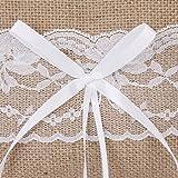 RONSHIN Vintage Jute Rustic Wedding Ring Pillow 6