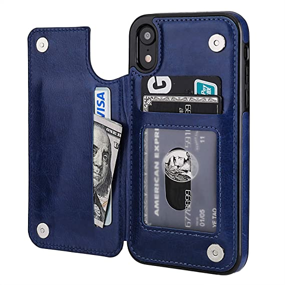 7b12acbef7c5 OT ONETOP iPhone XR Wallet Case with Card Holder, Premium PU Leather  Kickstand Card Slots Case,Double Magnetic Clasp and Durable Shockproof  Cover for ...