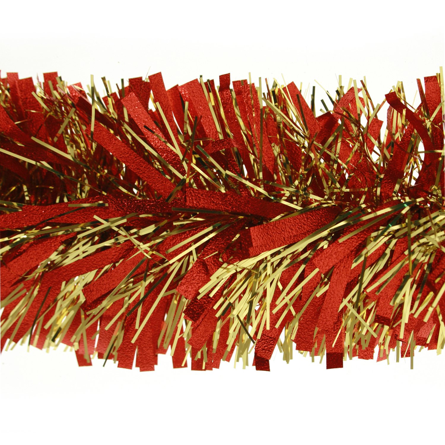 2m (6.5ft) Deluxe Thick Chunky Wide Red & Gold Shiny Christmas Tree Tinsel Garland with Embossing WeRChristmas