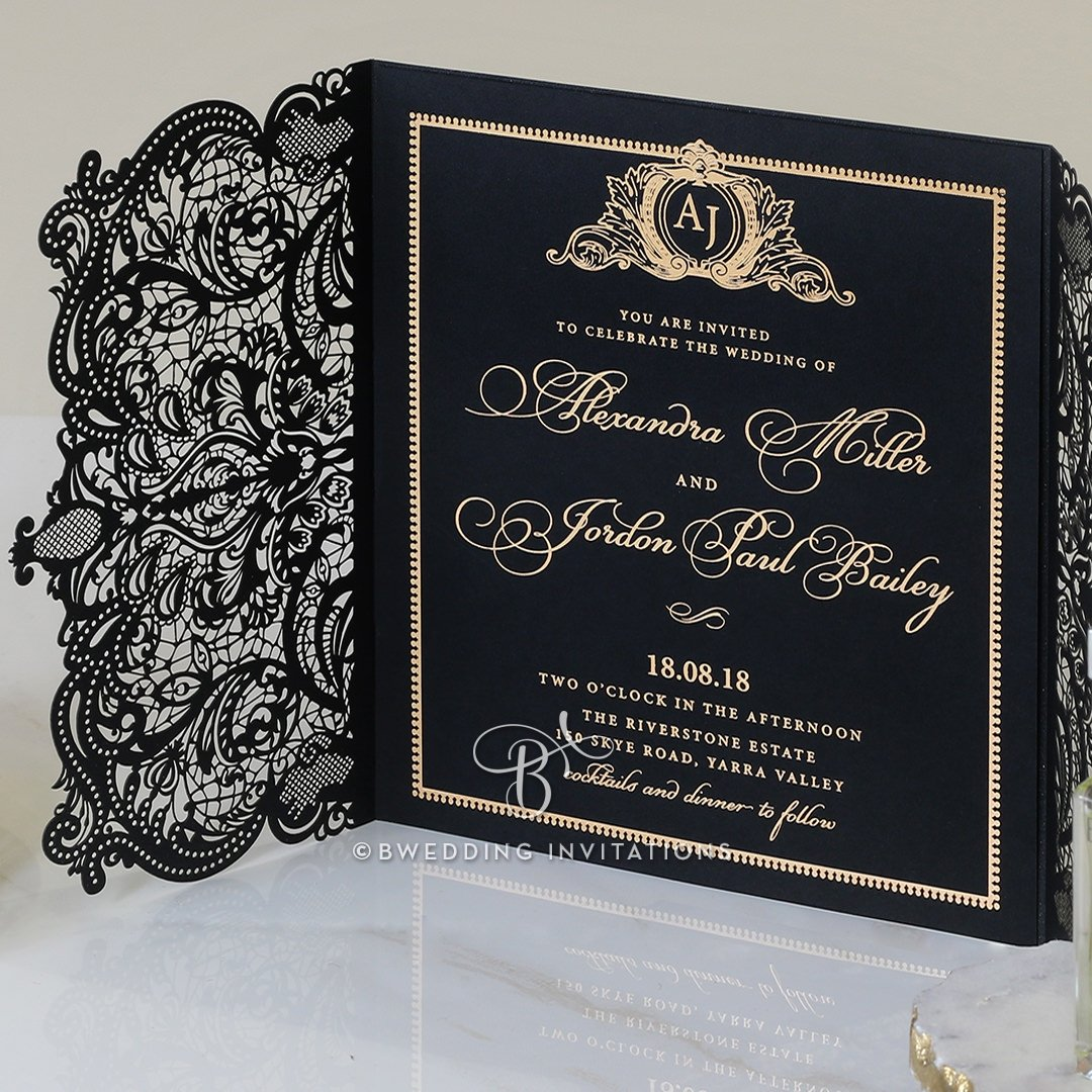 Amazon Com Wedding Invitations Lux Royal Lace With Foil