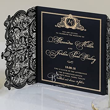 amazon com wedding invitations lux royal lace with foil sample