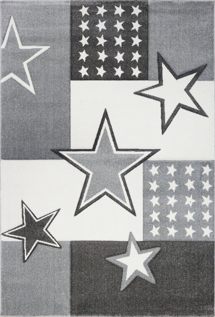 Livone Kuschelweicher Kinderteppich Jugendteppich Sternenteppich Felder Stern in Silber grau anthrazit Weiss Creme Größe 160 x 220 cm