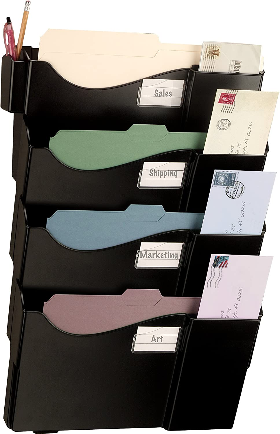 Officemate Grande Central Filing System, Letter/A4 and Legal Size, 4 Pockets, Black (21724)