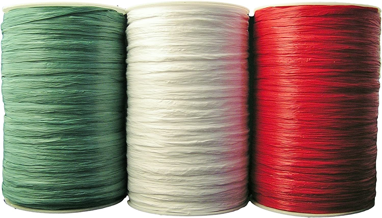 Bundle Red White Emerald Green Matte Raffia Ribbon 1//4 X 100 Yards 3 Spools 1 of Each Color