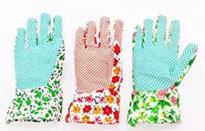 YSLON Gardening gloves for Woman(3-pairs),Comfortable Breathable Non-slip Flexible.