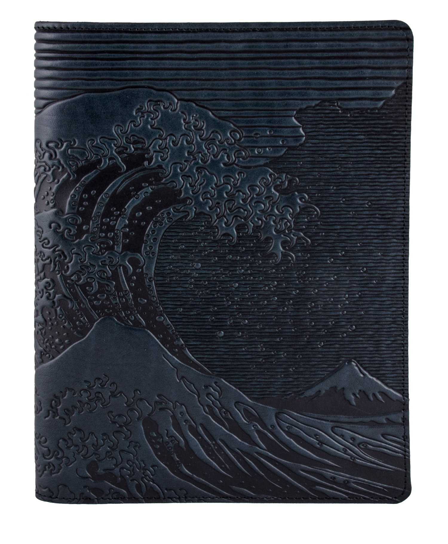 Genuine Leather Composition Notebook Cover + Insert - 8.25 x 10.25 Inches - Hokusai Wave, Navy - Benchcrafted in the USA by Oberon Design
