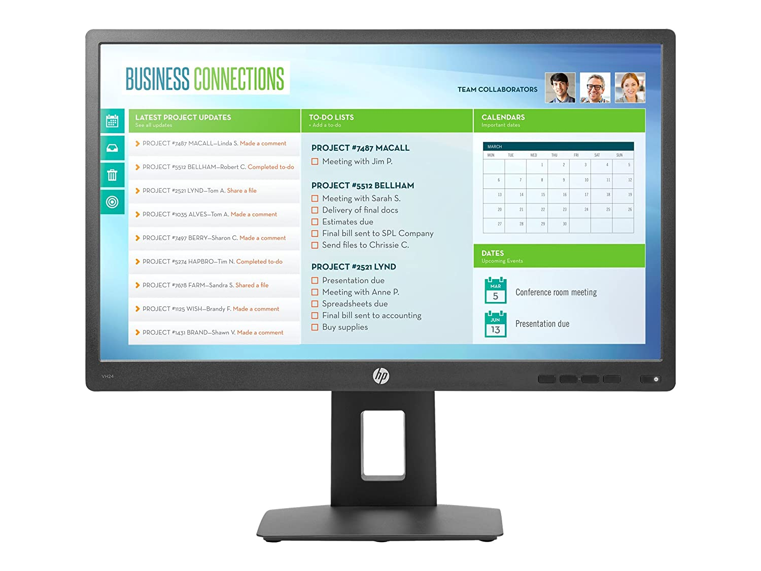 """16:9-5 ms TAA Compliant HP Business VH24 23.8/"""" LED LCD Monitor"""