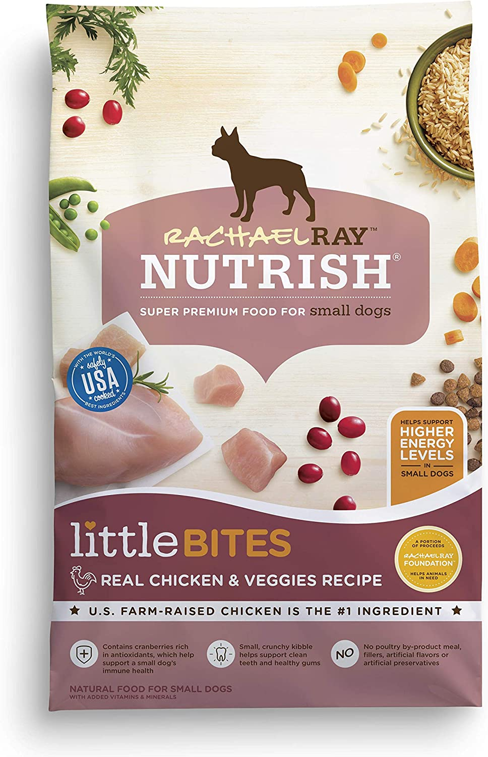 Rachael Ray Nutrish Little Bites Dry Dog Food, Chicken & Veggies Recipe for Small Breeds