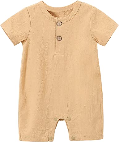 Cute Retro Style Elephant Silhouette Sleepwear Short Sleeve Cotton Bodysuit for Unisex Baby