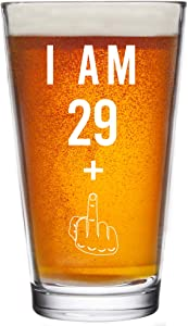 29 + One Middle Finger 30th Birthday Gifts for Men Women Beer Glass – Funny 30 Year Old Presents - 16 oz Pint Glasses Party Decorations Supplies - Craft Beers Ideas for Dad Mom Husband Wife 30 th