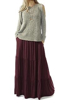 36ef218198 TRENDY UNITED Women's Bohemian Style High Waist Shirring Ruffle Pocket Skirt