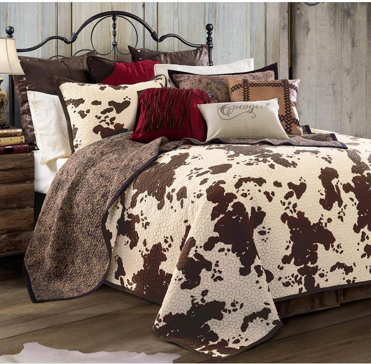 3-PC Elsa Cowhide Cow Print Quilt Set, King