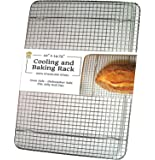 "Ultra Cuisine Stainless Steel Cooling Rack for Baking fits Jelly Roll Pan - Heavy Duty Wire Grid - Oven Safe for Roasting, Cooking, Grilling (10""x14.75"")"