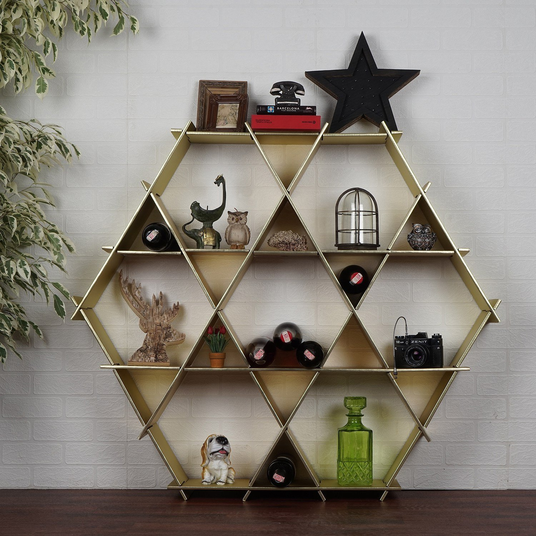 LaModaHome Cardboard Shelf 100% Corrugated Cardboard (27.6'' x 26.4'' x 4.3'') Yellow Triangle Hexagon Accessory Design Decorative Storage Shelf Multi Purpose