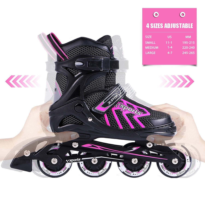 2PM SPORTS Brice Pink Adjustable Illuminating Inline Skates with Full Light Up Wheels, Fun Flashing Skates for Girls