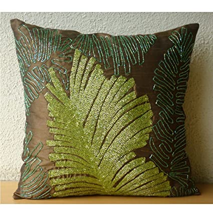 The Homecentric Luxury Brown Decorative Pillows Cover Tropical Floral Pillowcases X