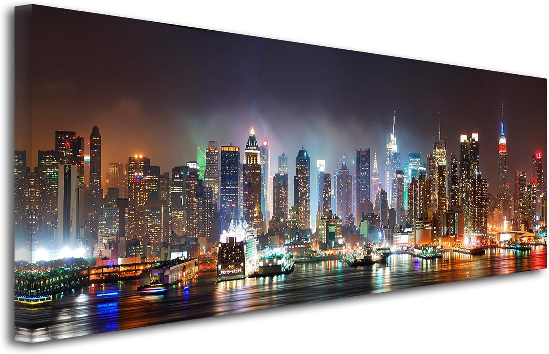 DECLINA Tableau Panorama New York by Night Impression Photo Ville sur Toile décoration Murale Paysage Déco Maison, Cuisine, Salon, Chambre Adulte