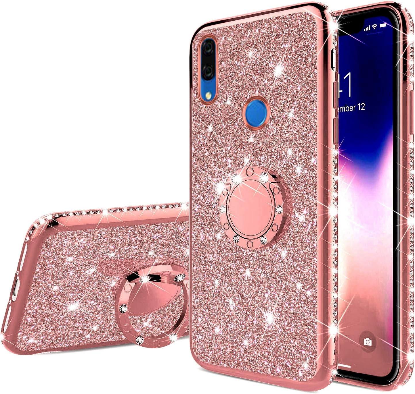 Uposao Kompatibel mit Huawei P Smart Z Handyh/ülle mit 360 Grad Ring St/änder Glitzer Bling Strass Diamant M/ädchen TPU Silikon Clear H/ülle Schutzh/ülle Durchsichtig Tasche Case,Schwarz