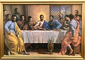 African American The Last Supper Jesus Christ Wall Art Decor Framed Poster | 25x31 Premium (Canvas/Painting Like) Textured Print | Black Religious Christian Artwork | Gifts for Guys & Girls Bedroom