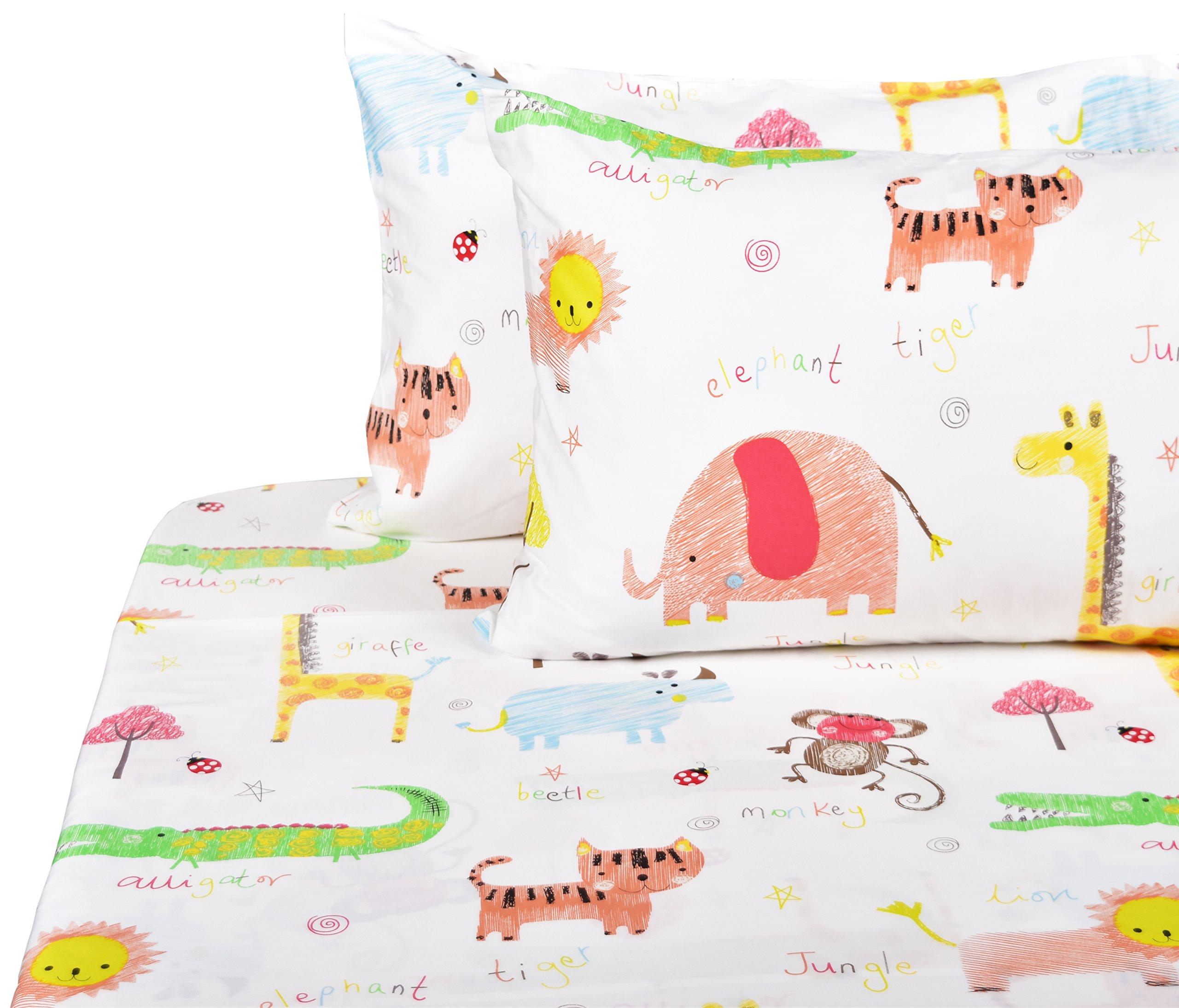 J-pinno Cute Lion Monkey Animals Full Sheet Set for Kids Children,100% Cotton, Flat Sheet + Fitted Sheet + Two Pillowcase Bedding Set (4)