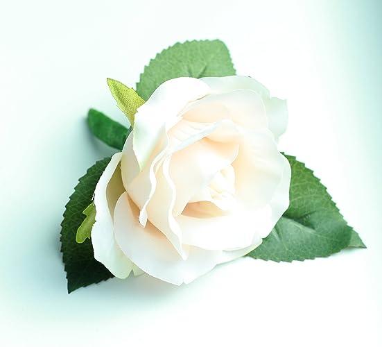 large blush rose boutonniere silk flower - Garden Rose Boutonniere