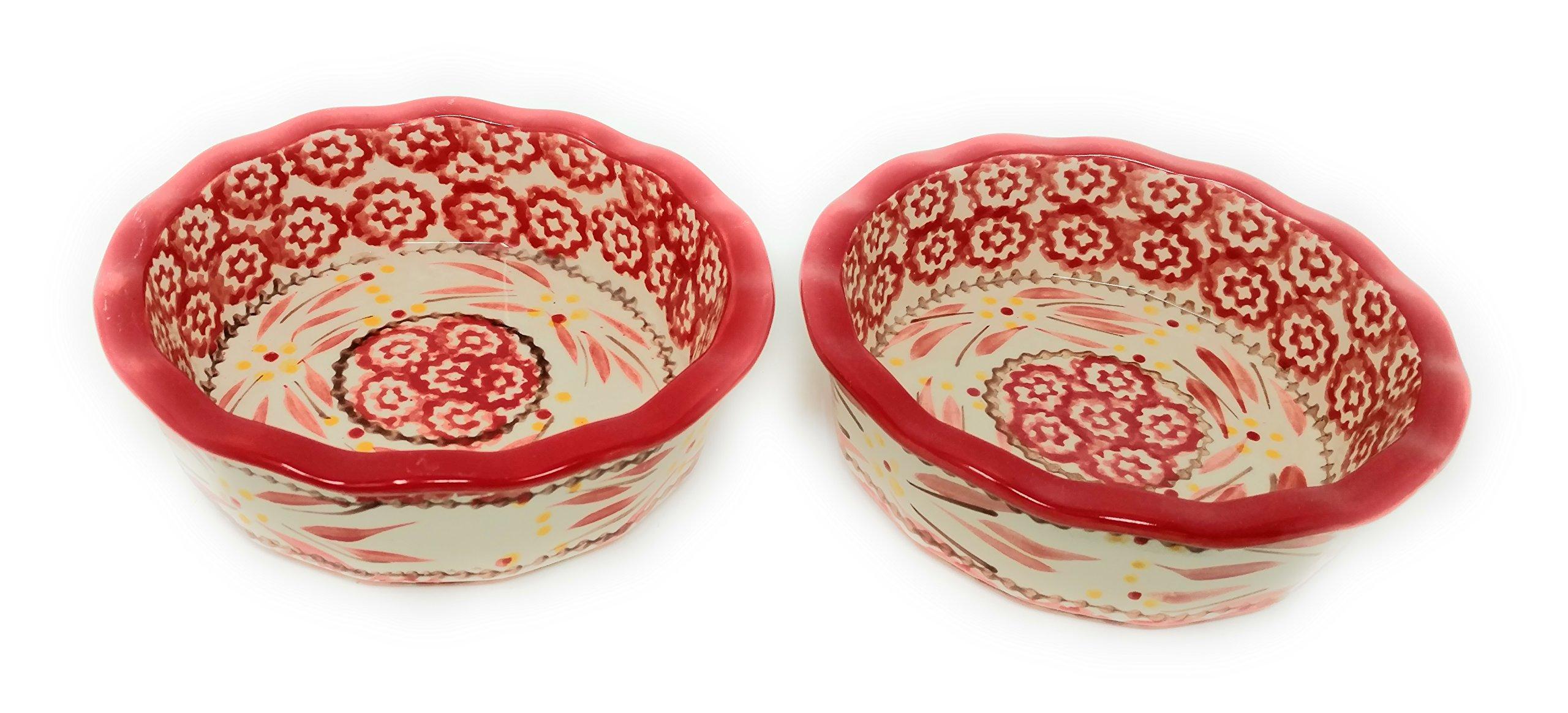 Temp-tations Set of 2 Mini Pie Pans, Deep Dish 5.75'' x 1.75'' each - Stoneware (Old World Red)
