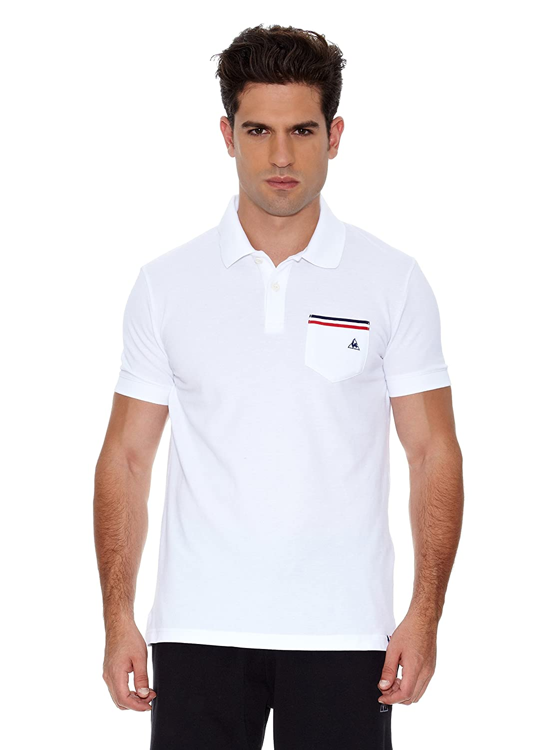 Le Coq Sportif Polo Tricolores Pavot Polo SS Blanco M: Amazon.es ...
