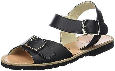 Womens Avarca Boucle Cuir Negro Open Toe Sandals Minorquines hSP3e50O