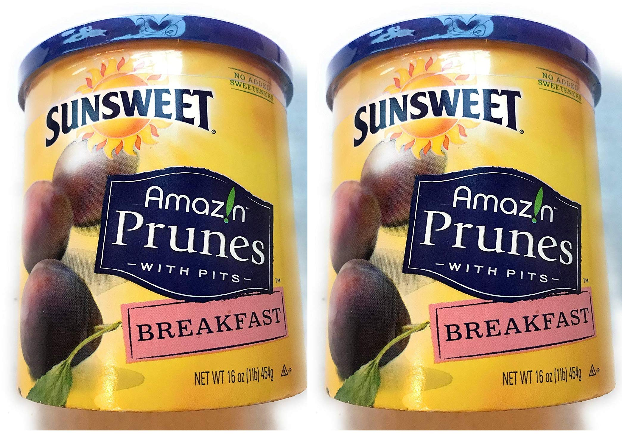 Sunsweet Amazin Prunes With Pits Breakfast Prunes 2 16 oz Containers - Delicious Dried Plums - GREAT VALUE