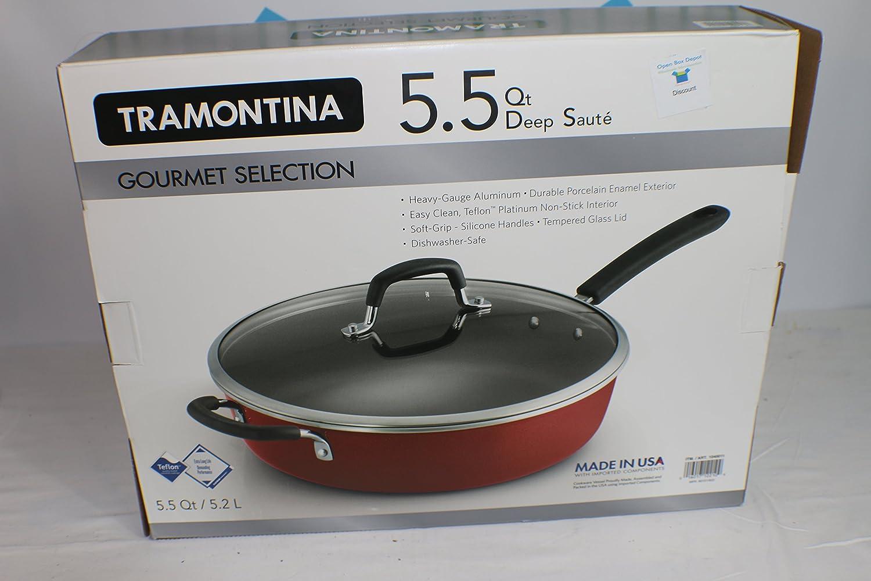 Amazon.com: Tramontina Red Gourmet Heavy-Gauge Nonstick Covered ...