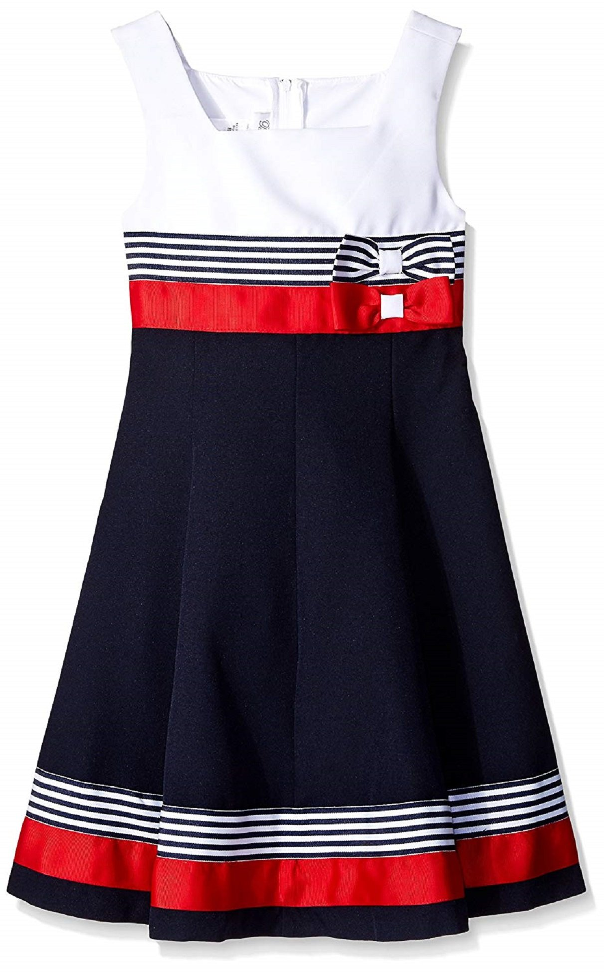 Bonnie Jean Girls Easter Scuba Special Ocassion Dress (20 1/2, Navy/Red)