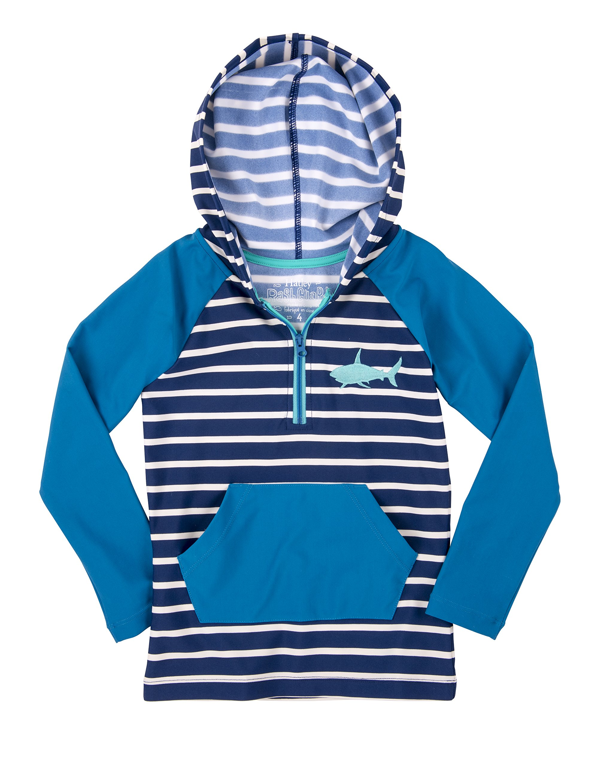 Hatley Little Boys' Hooded Rash Guard, Toothy Shark, 7 by Hatley