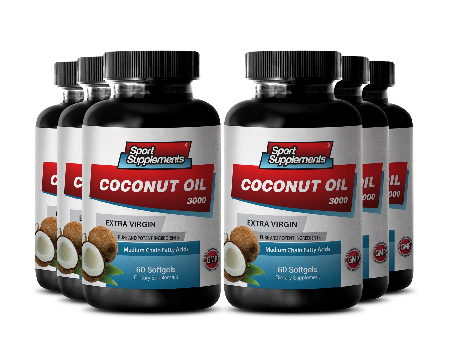 Extra Virgin Coconut Oil Cold Pressed Unrefined - Extra Virgin Coconut Oil 3,000mg - Coconut Oil for Skin, Nails and Hair Care (6 Bottles 360 Softgels)